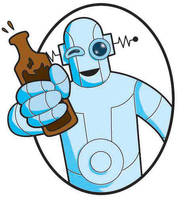 drunk robot label by WombatOne