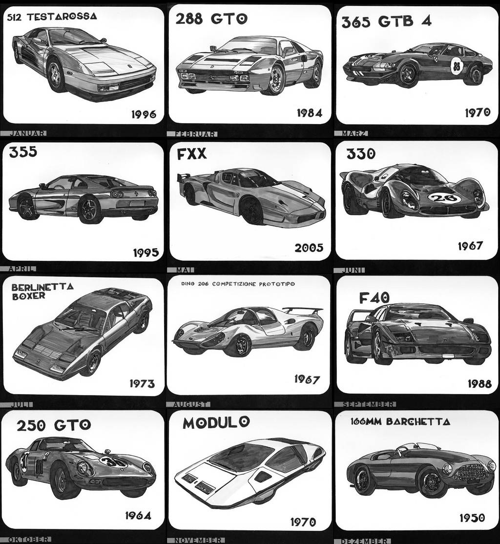 Ferrari 12 month calendar by Enkida