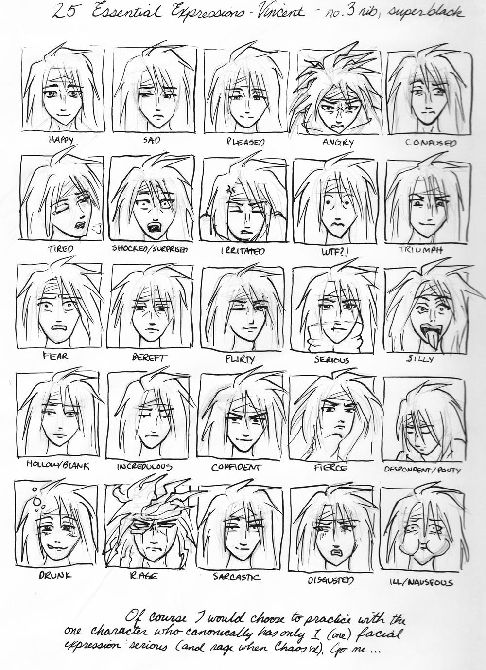 25 expressions Vincent Valentine by Enkida