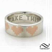 Take This - Silver Pixel Life Heart ring with 14k by mooredesign13