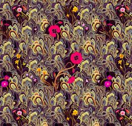 Daffodil pattern, textile design for Oktex del pun by Rolandi