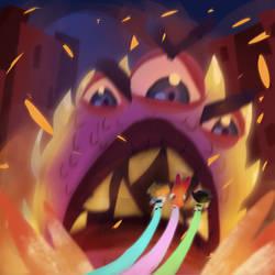 Kaiju #6 vs Powerpuff Girls by MysteryMint