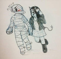 Shy Mummy and Demon Girl by MysteryMint