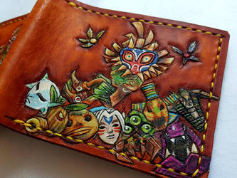 All of the Masks. Leather wallet, front by Bubblypies