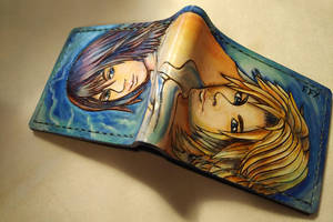 FFX portraits of Yuna and Tidus, leather wallet by Bubblypies