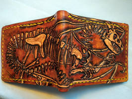 Dragon skeleton fossil leather wallet by Bubblypies