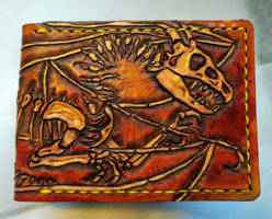 Dragon skeleton fossil leather wallet front by Bubblypies