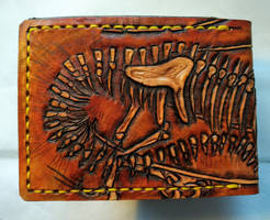 Dragon skeleton fossil leather wallet back by Bubblypies
