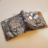 Bioshock/Bloodborne leather wallet by Bubblypies