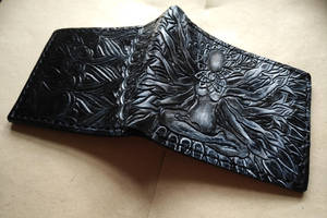 Shiva leather wallet angle by Bubblypies