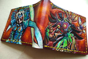 Fierce deity link and Skull Kid leather wallet by Bubblypies