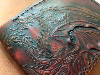 Mahogany Targaryen leather wallet  close up by Bubblypies