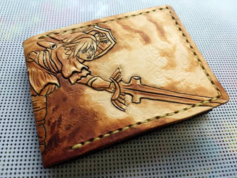Brown powered up link leather wallet by Bubblypies