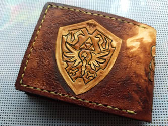 Brown powered up link leather wallet back by Bubblypies