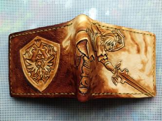 Brown powered up link leather wallet spine2 by Bubblypies