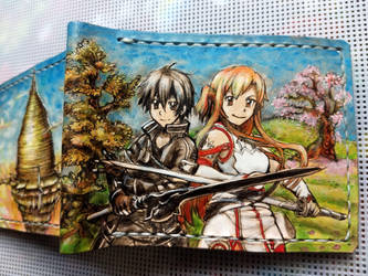 Sword art online leather wallet spine  front, by Bubblypies
