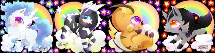 + Mini Chibi Rainbow Pokemon + Set 1 + by AngeKrystaleen