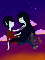 Marceline and Marshall lee by Sleeping-Aurora
