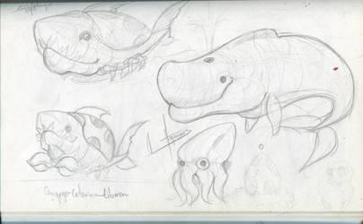 SketchBook Update005-Sea animals sketchdup by Hugonimus