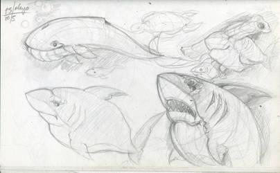 SketchBook Update 006-Sharks by Hugonimus