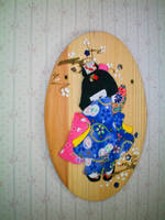 Japanese Doll Wood Plaque by bobbin4apples