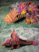 Rainbow Muppet Dragon Plushy by sunhawk