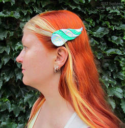 Dragonhorn Barrettes - Green Rainbow by sunhawk