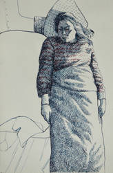 sleeping Kasia- ink on paper by DawidZdobylak
