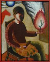 Self-portrait with fire and palette by DawidZdobylak