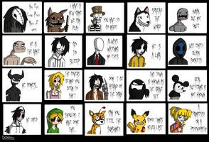 Creepypasta Sticker Set by Dethkira