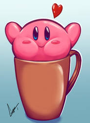 kirby in a cup. by GiuseppeCorzo