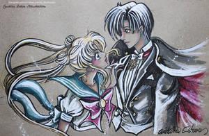 Sketch color Usagi x Mamoru -  Fanart Sailor Moon by CrisEsHer