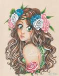 La belle Ayumi entre les fleurs - OC by CrisEsHer
