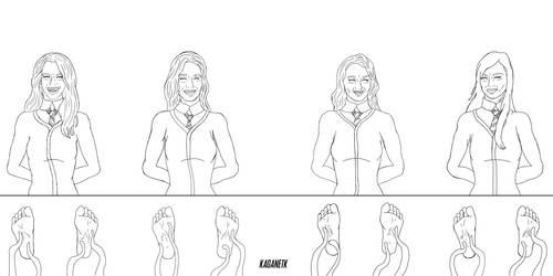 Hogwarts Girls Tickling Lineart by KaganeTK