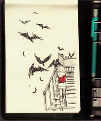 drawn in a library by demitasse-lover