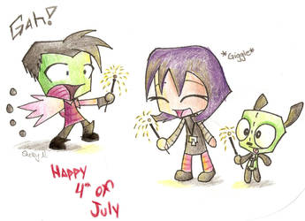 Zim, Gaz, and Gir 4th of July by IZNMBCgirl