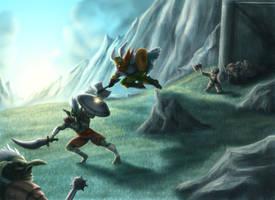 Dwarves VS Goblins commission by Destinyfall