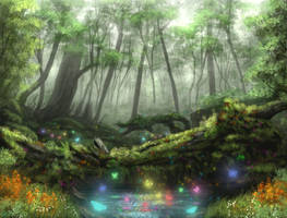 Butterfly Forest (commission) by Destinyfall