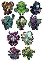 .Lovely Lovecraft PVC Keychains!. by MalakiaLaGatta
