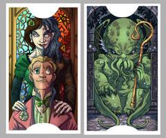 .Lovecraft Tarot: Lovers + High Priest. by MalakiaLaGatta