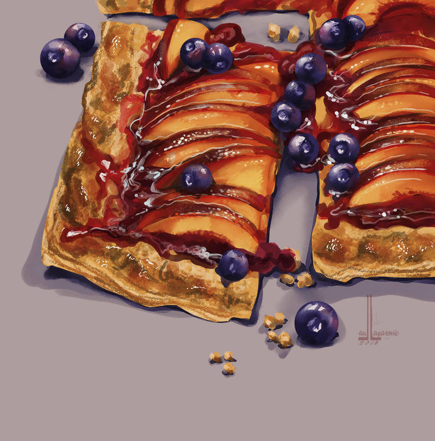 Blueberry Peach Tart by DesigningLua