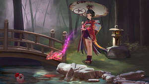 Onmyoji contest - Kagura plays with her goldfishes by AztoDeus