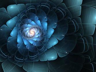 Dark Blue Fractal Flower by KeilaNeokow