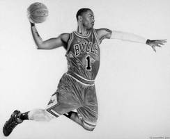 Derrick Rose Drawing by Rollingboxes