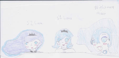 Princess Luna(s) and a Nightmare Moon (human) by pinkspark199