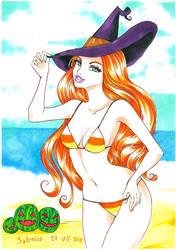 Candy corn bikini and watermelon Jacks by SaturninaTheWitch