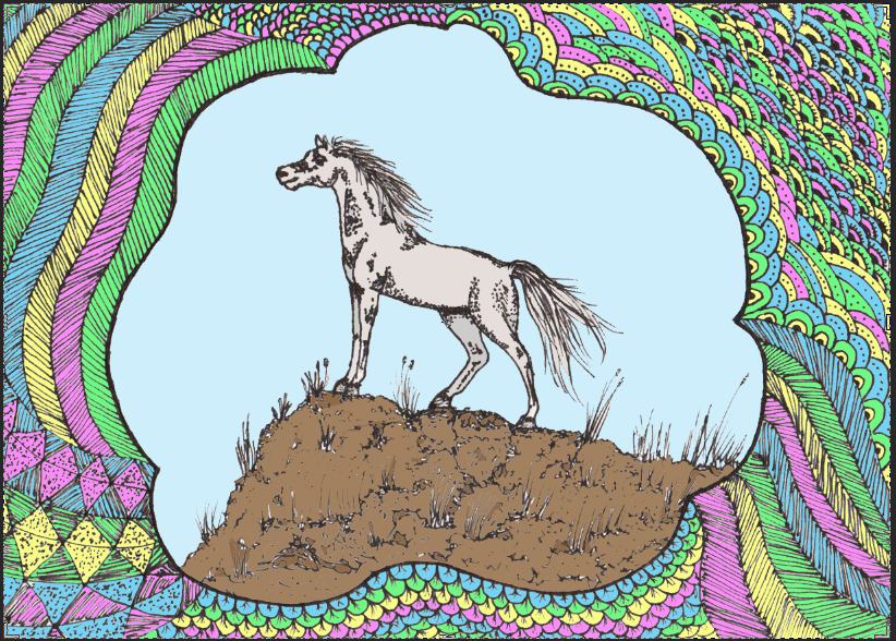 Horse drawing by Anuden