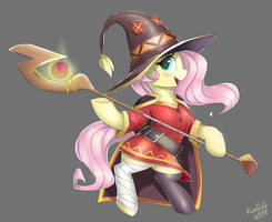 Fluttershy in Megumin Cosplay! (Full Version) by RoseFluffDraws