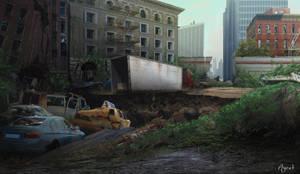 Post-apocalypse scene by AyratCG