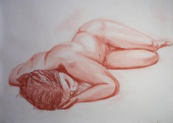 Nude study: lying man by Nimpsu